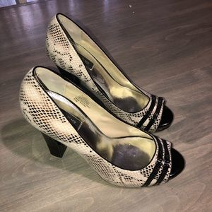 White House Black Market snake skin open toe heels